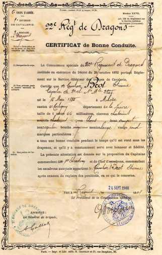 Certificat de bonne conduite d'Etienne BROT - collection personnelle