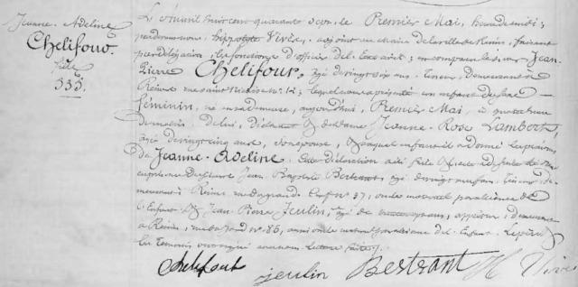 1847-05-01 naissance Chelifour Jeanne Adeline