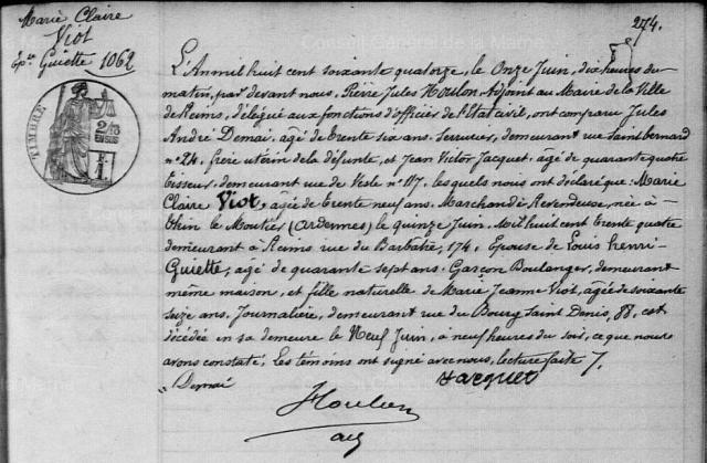 1874-06-09 décès Viot Marie Claire