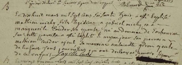 1768-03-18 naissance Michy Mathieu