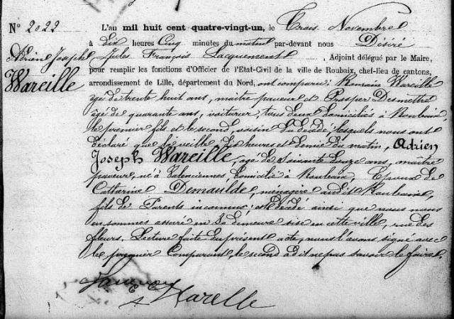 1881-11-02 décès Wareille Adrien Joseph