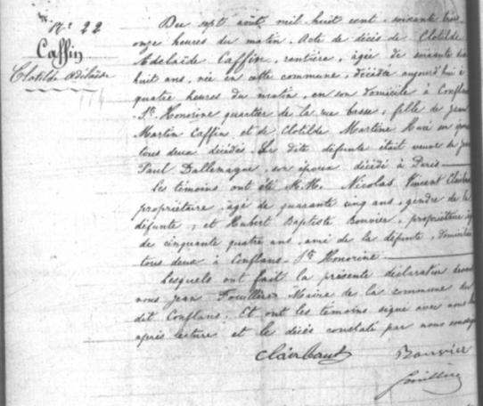 1863-08-07 décès Caffin Coltilde Adélaïde