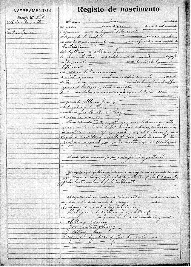 1919-05-09 naissance Gomes Custodio