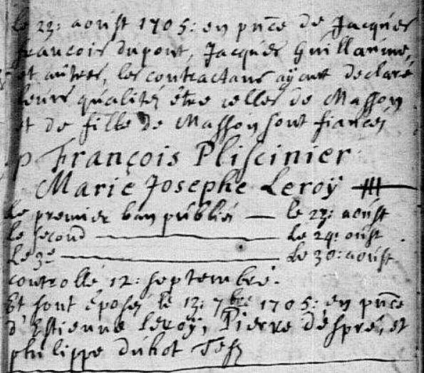 1705-09-13 mariage Pliscinier-Leroy