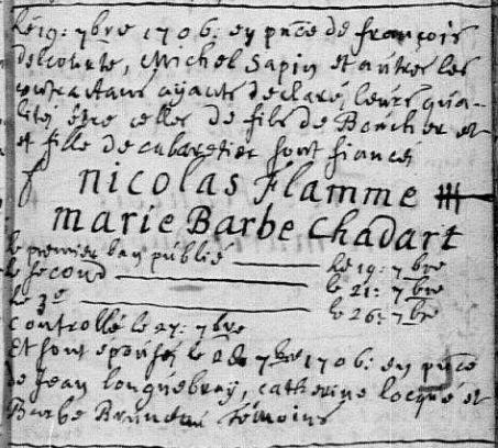 1706-09-28 mariage Flamme-Chadart