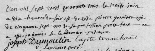 1743-06-13 décès Guiniart Pierre