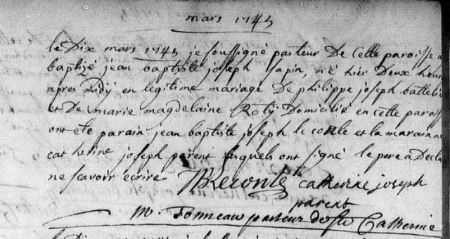 1745-03-10 naissance Sapin Jean Baptiste Joseph