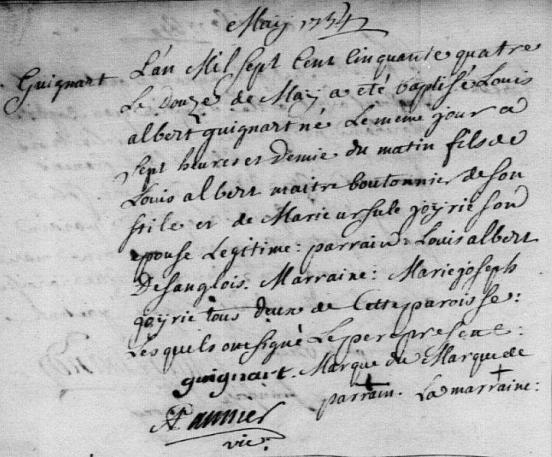 1754-05-12 naissance Guignart Louis Albert