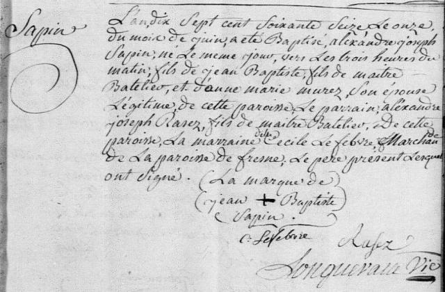 1776-06-11 naissance Sapin Alexandre Joseph