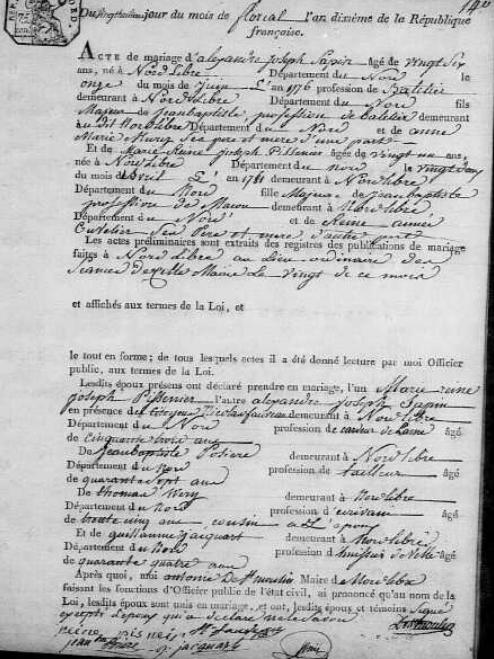 1802-05-18 mariage Sapin-Pissenier