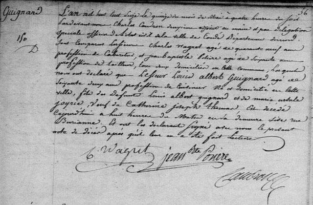 1816-05-15 décès Guignard Louis Albert