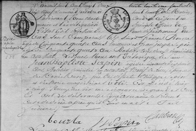 1822-10-19 décès Sapin Jean Baptiste