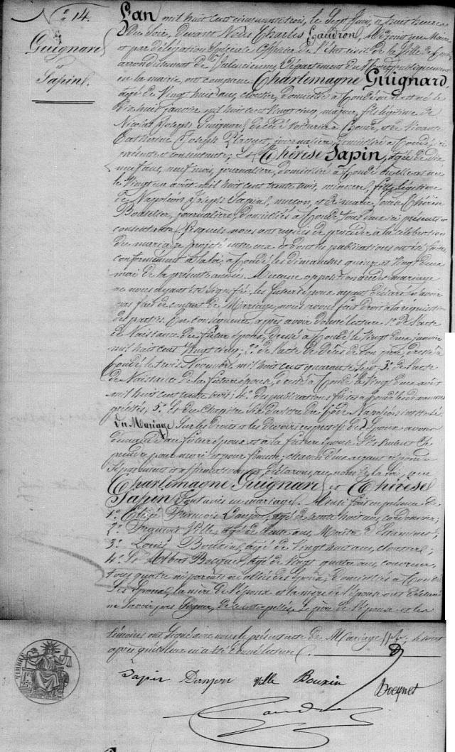 1853-06-07 mariage Guignard-Sapin