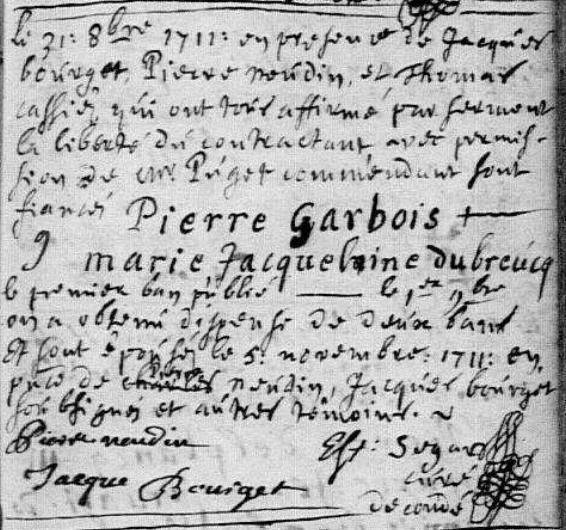 1711-11-05 mariage Garbois-Dubreucq