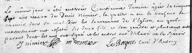 Bonheur 1712-09-19 décès Jamin Cantienne