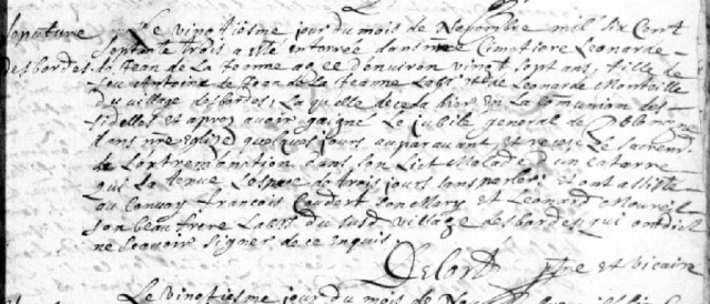 Catarrhe 1673-11-20 décès de Jean de la Jeanne Leonarde
