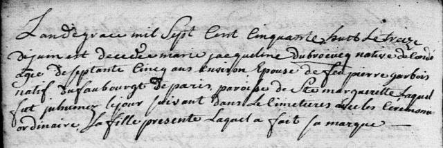 Galiottes 1758-06-13 décès Dubreucq Marie Jacqueline