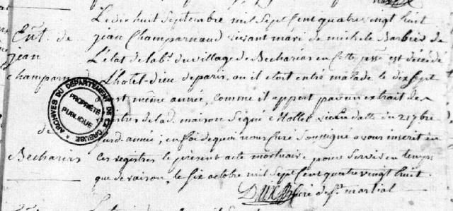 Hôtel-Dieu 1788-09-18 décès Champarnaud Jean