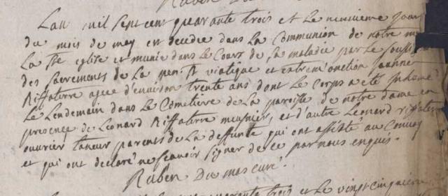 Maladie 1743-05-09 décès Riffaterre Jeanne