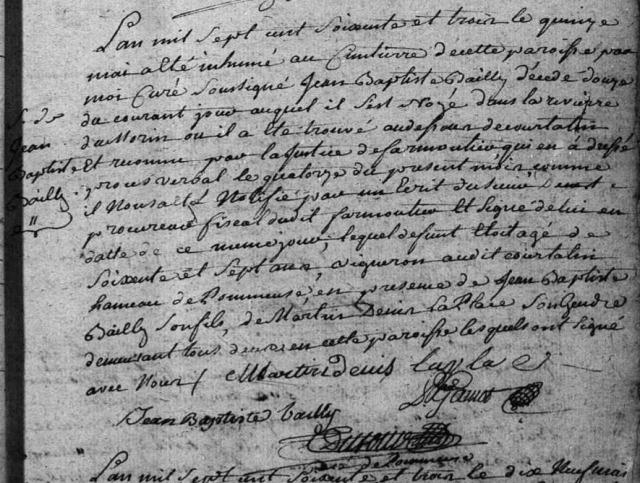 Noyé 1763-05-15 décès Bailly Jean Baptiste