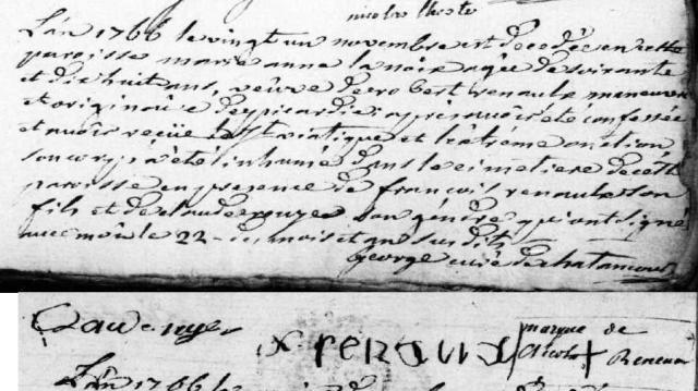 Origine 1766-11-21 décès Lanoix Marie Anne