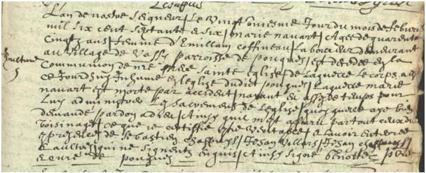 Pardon 1676-02-21 décès Navart Marie