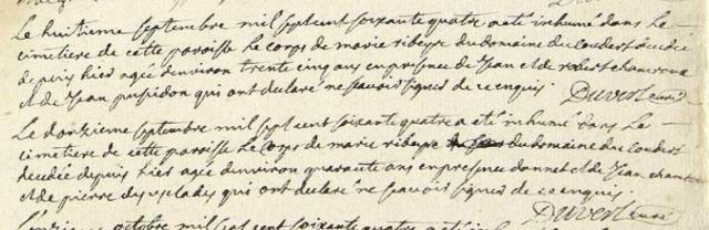 Qui est qui 1764-09-11 décès Ribeyre Marie
