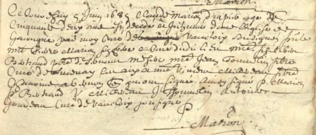 Religieux 1685-06-05 dacès Marion Claude