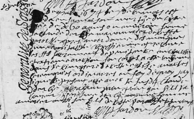 Véritable 1674-06-07 décès Duchesne Marthe
