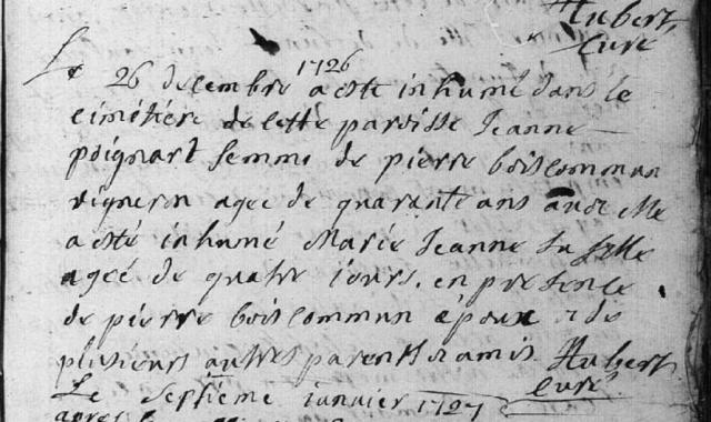 1726-12-26 décès Poignart Jeanne